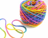 Bulky Yarn Hand Dyed Wool Mohair Yarn - Rainbow Popsicle