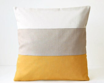 16 inch mustard beige colour block cushion cover, solid accent linen decorative pillow cover 40 cm