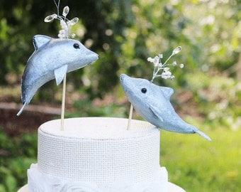 Dolphin Wedding Cake Topper in Silver: Bride & Groom Beach Wedding Cake Topper
