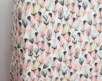 Woodland Feather Crib Sheet in Tulip, Coral and Aqua - Mini Crib Sheet or Changing Pad Cover