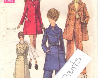 1960s Simplicity 8502 Misses Double Breasted Mini and Maxi Coat Pattern Womens Vintage Sewing Size 12 Bust 34 OR Size 14 with Pants