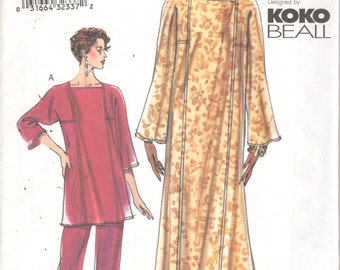 Vogue 7335 Misses Pullover Caftan Top Pull On Pants Pattern KOKO BEALL Womens Sewing Size 8 10 12  Or 20 22 24  UNCUT