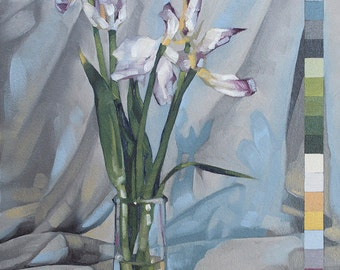 "Contemporary Art, Still Life Floral Oil Painting with Color Chart, Botanical Painting of Wilted Tulips - ""Old Tulips in 22 Colors"""