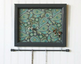 Jewelry Organizer- Jewelry Holder- Upcycled 8x10 Picture Frame