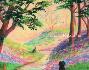 Colorful Garden Cat Note Cards from Original Painting Creationarts Free Shipping