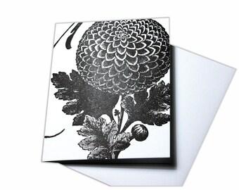 Fabulous Dahlia Flower Letterpress Blank Card
