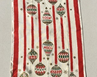 Vintage Christmas Towel Shiny Brites on Ribbon