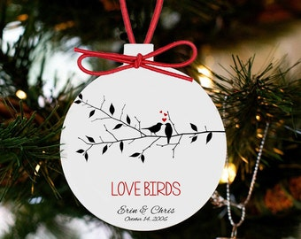 Love birds couples personalized Christmas ornament LBCRO