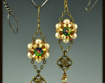 Beaded, Bead Woven Crystal Flower Earrings