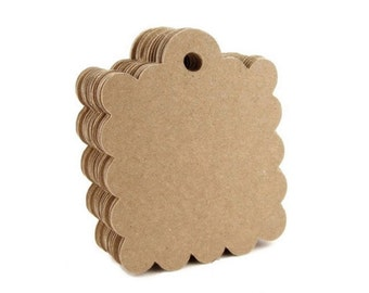 """Brown Paper Tags, Scallop Kraft Paper, Price Merchandise, Set of 50, 2.5"""" x 2"""""""
