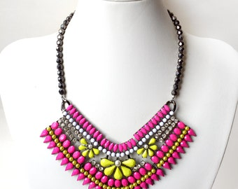 Neon Pink and Yellow Statement Bib Necklace in Hematite - Beaded Statement Necklace - Hematite Czech Glass
