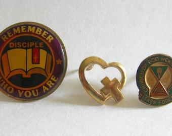Religious Lapel Pin Lot (3) Old Stock Heart Cross Enamel Vintage