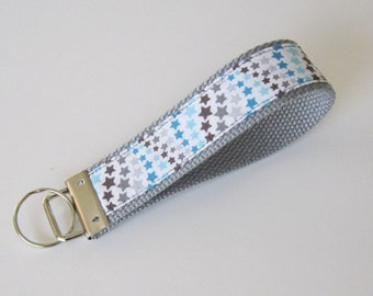 Wristlet Key Fob - Gray/Blue/Brown/Stars