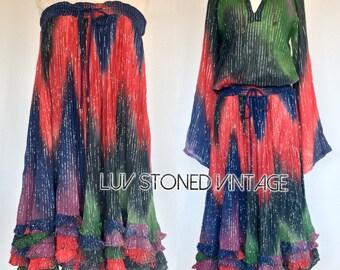 Vintage 80s Phool Indian Blouse Skirt Set Cotton Boho Hippie Tie Dye Metallic Festival Midi Dress . D147 . SM . 1219.8.6.16