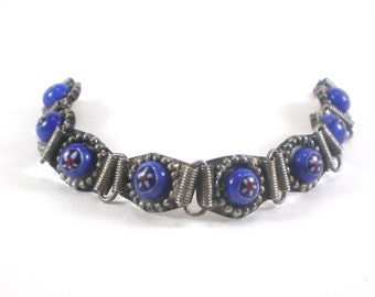 Millefiori Bracelet , Blue Link Bracelet , Boho Hippie Tribal  Millefiori Glass Vintage Jewelry