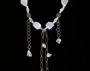 Rainbow moonstone necklace * opal jewelry * luscious goddess necklace * la luna