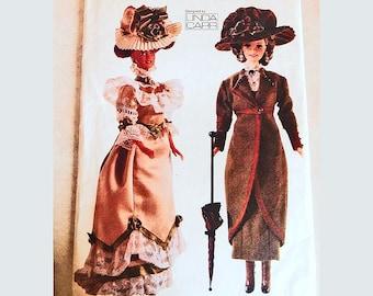 Vogue Victorian Barbie Doll Clothes Pattern Dress Coat Hat Parasol Historical Costumes Circa 1900 1910 Fashion Doll Clothes Pattern UNCUT