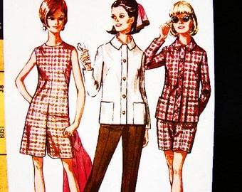 1960s Pantdress Pattern Misses size 16 UNCUT Womens Short Jumpsuit, Pant Dress, Jacket, Pants, Shorts Vintage Sewing Pattern 60s