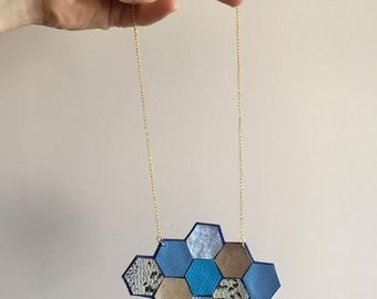 Geometric Ultra Suede and Leather Honeycomb Necklace / Hexagon Necklace