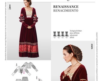 Renaissance Two-piece gown, Fitted bodice & Hairnet Burda 7171 Shakespeare Costume - Medieval  Sizes:10 -12 -14 -16 -18 -20 -22 -24