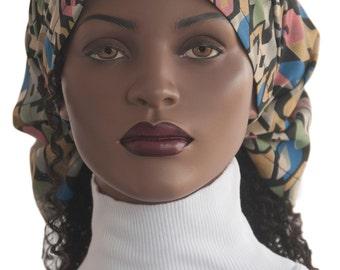 Dread Headband Scarf Headcovering Abstract Print Multi Color Dreadie Head Scarf Stripe Chiffon Prayer Haircovering