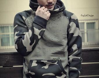 Men's Hoodie / Military hoodie / Hooded sweatshirt / camouflage hooded tshirt - KMT 066