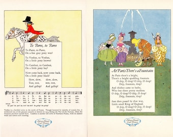 PARIS - Illustrated French Poems  Two Pages At Paris There's a Fountain and To Paree To Paree Nursery Friends From France