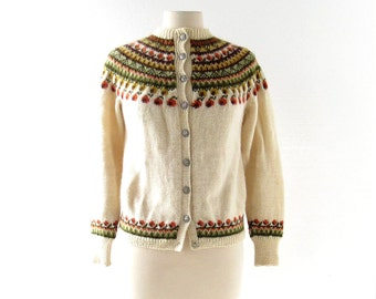 Vintage Norwegian Sweater / Fair Isle Cardigan / 70s Sweater / XS S