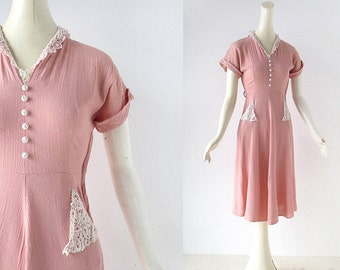 1950s Pink Dress | Linen and Lace Dress | 50s Dress | XXS
