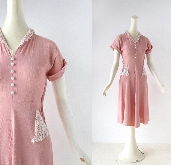1950s Pink Dress | Linen and Lace Dress | 50s Dress | XXS