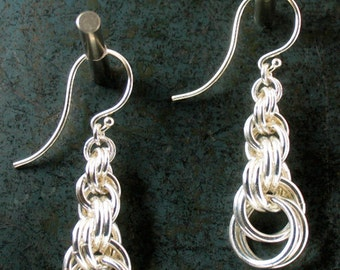 Silver Dangle Earrings Graduated Double Spiral