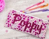 Liberty Glitter Name Pencil Case - personalised - zip pouch - school supplies - stationery - Liberty of London - pink floral - personalized