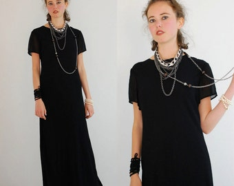 Long Minimal Dress Vintage 90s Black Minimalist Urban Indie Draped Maxi Dress (s m)