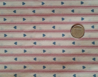 RD009 ~ Off-White fabric Red stripes Blue hearts Red ticking fabric 2 yards +
