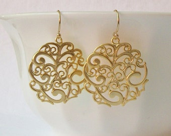 LAST ONE Round Floral Dangle Earrings, round  filigree disc drop spray pattern charm