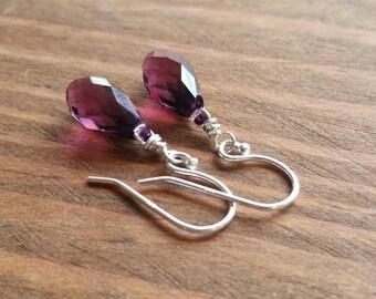 Purple Faceted Teardrop Dangle Earrings, Sterling Silver & Amethyst Swarovski Crystal Beads. Simple, Elegant, Sparkly, Short Earrings
