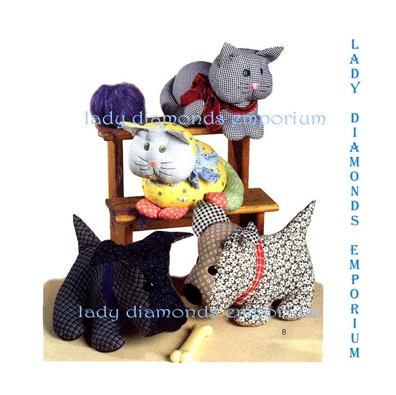 Calico Cat & Gingham Stuffed Dog Pattern