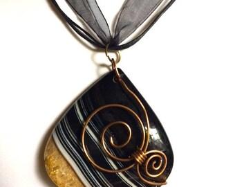 Copper Wire Wrapped Striped Agate Pendant Necklace