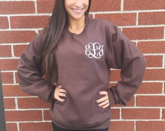 Brown Monogrammed sweatshirt , personalized sweatshirt , crew neck sweatshirt , embroidered ladies sweatshirt, womans sweatshirt