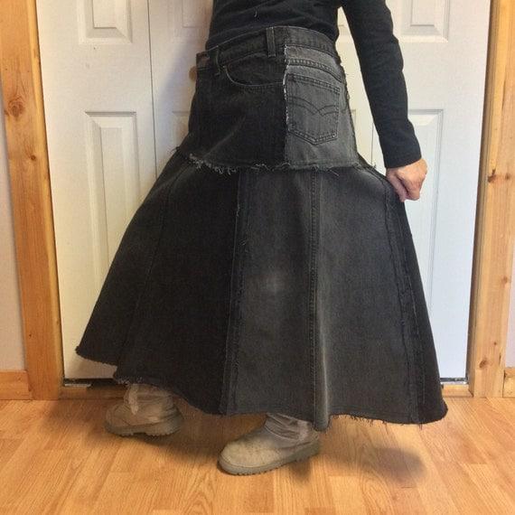 xl upcycled black denim skirt plus size skirt black jean