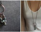 Aqua Enamel Fringe Pendant Necklace - Vitreous Glass Enamel, Oxidize Brown Copper, Aqua Blue Green, Wire-Wrap Metalwork, Long Boho Jewellery