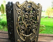 Vintage Ornate Trash Can French Chic Black Gold Waste Paper Basket Hollywood Glam Home Office Decor