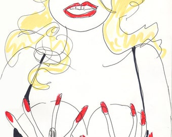 ANNA NICOLE SMITH Drawing Print / Portrait/ Woman / Breasts / Celebrity   (size a4)