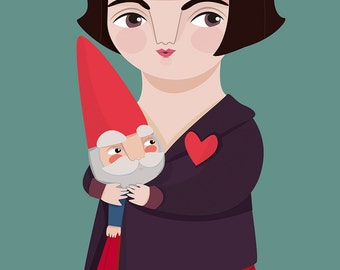 Amélie & dwarf print, film inspired illustration