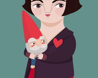 Amélie & dwarf print, film inspired illustration