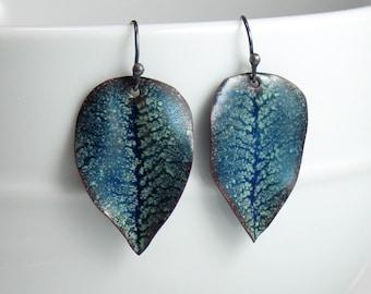 Copper Enamel Leaf Earrings, Dark Blue with Pale Blue Details, Vitreous Enamel Handmade Earrings, Nature, WillOaksStudio, Ready to Ship