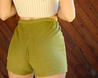 Chartreuse Green Terry Hot Shorts - Vintage 60s 70s - XS/S