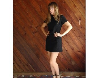 90s Black Wool Mini Shift Dress - Vintage - XS Petite