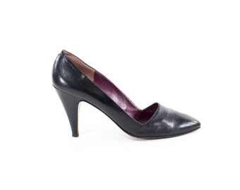 Vintage Leather Heels Andrew Geller Italian Black Pumps Made in Italy Size 9.5