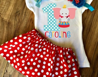 Dumbo Birthday Skirt Set - Dumbo Dress - Dumbo Outfit - Dumbo Skirt